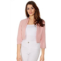 Quiz - Pink Crop 3/4 Sleeve Jacket