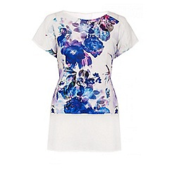 Quiz - Cream And Blue Crepe Flower Print Top