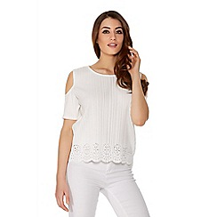 Quiz - Cream Pleated Cold Shoulder Cut Out Top