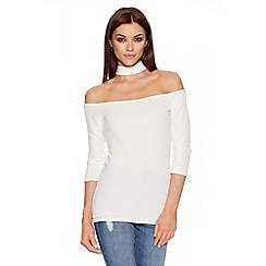 Quiz - Cream Crepe Cut Out Collar Neck Top