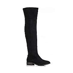 Quiz - Black Faux Suede Over The Knee Low Heel Boots
