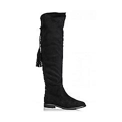 Quiz - Black Faux Suede Tassel Tie Back Boots