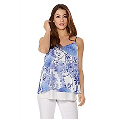 Quiz - Cream And Blue Flower Print Chiffon Double Layer Top
