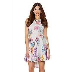 Quiz - Multicoloured Flower Print Dip Hem Dress