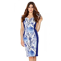 Quiz - Cream And Blue Bardot Contrast Midi Dress
