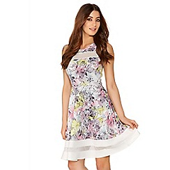 Quiz - Multicoloured Flower Print Mesh Dress