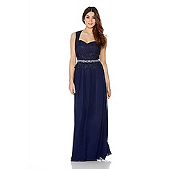 Quiz - Navy Chiffon Lace Sweetheart Maxi Dress