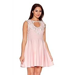 Quiz - Pale Pink Crochet Neck Trim Skater Dress