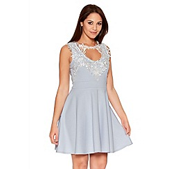 Quiz - Pale Blue Crochet Neck Trim Skater Dress