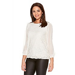 Quiz - Cream And Gold Lace Chiffon Bubble Top