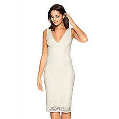 Quiz - Cream And Gold Glitter Lace Midi Dress
