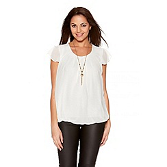 Quiz - Cream Chiffon Bubble Lace Necklace Top