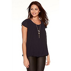 Quiz - Navy Chiffon Bubble Lace Necklace Top