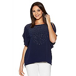 Quiz - Navy Cold Shoulder Diamante Batwing Top