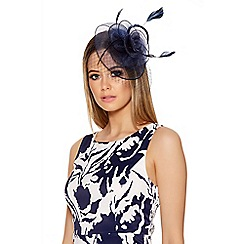 Quiz - Navy Jewel Rose Fascinator
