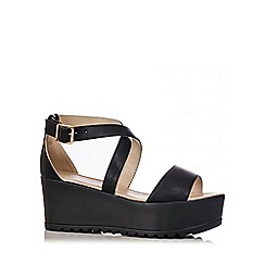 Quiz - Black PU Cross Strap Chunky Wedges