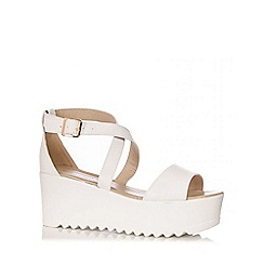 Quiz - White PU Cross Strap Chunky Wedges