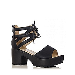 Quiz - Black Double Ankle Strap Chunky Sandals