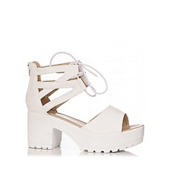 Quiz - White Double Ankle Strap Chunky Sandals