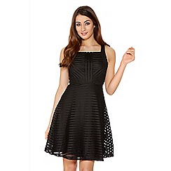 Quiz - Black Mesh Ribbed Skater Dress