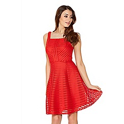 Quiz - Red Mesh Ribbed Skater Dress