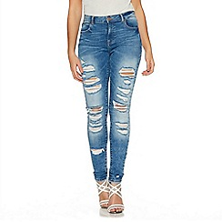 Quiz - Blue Denim Ripped Skinny Jeans