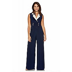 Quiz - Navy And Cream Contrast Lapel Jumpsuit