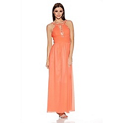 Quiz - Coral Pleated Cut Out Maxi Dress