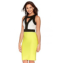 Quiz - Cream Lime And Black Contrast Midi Dress
