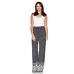 Quiz - Navy And White Tile Print Palazzo Trousers