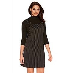 Quiz - Black And White Pinstripe Pinafore Dress