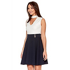 Quiz - Cream And Navy Keyhole Turtle Neck Skater Dress