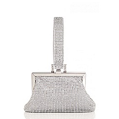 Quiz - Silver Diamante Handle Purse Bag