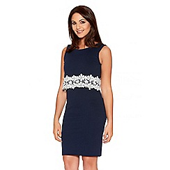 Quiz - Navy And Cream Double Layer Lace Trim Dress