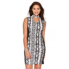 Quiz - Cream And Black Snake Print Panel Midi Dress