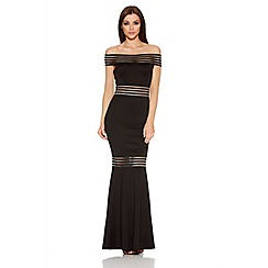 Quiz - Black Sheer Panel Bardot Fishtail Maxi Dress