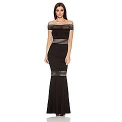 Quiz - Black Sheer Panel Bardot Fishtail Maxi Dress