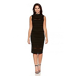 Quiz - Black Pointelle Turtle Neck Dress