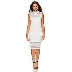 Quiz - Cream Pointelle Turtle Neck Dress