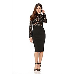 Quiz - Black Lace Long Sleeve Midi Dress