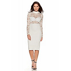 Quiz - Cream Lace Long Sleeve Midi Dress