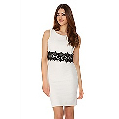 Quiz - Cream And Black Crepe Double Layer Lace Trim Dress