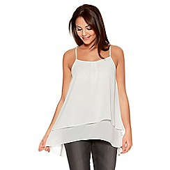 Quiz - White Chiffon Double Layer Strap Swing Top