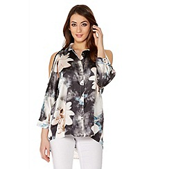 Quiz - Satin Flower Print Cold Shoulder Top