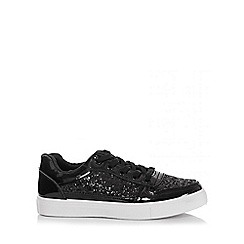 Quiz - Black Glitter Lace Skater Trainers