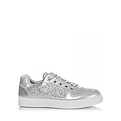 Quiz - Silver Glitter Lace Skater Trainers