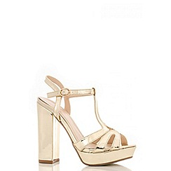 Quiz - Gold Metallic Block High Heel Sandals