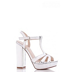 Quiz - Silver Metallic Block High Heel Sandals