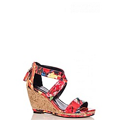 Quiz - Tropical Print Cross Strap Wedges