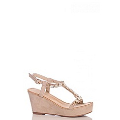 Quiz - Beige Jewel T-Bar Wedges